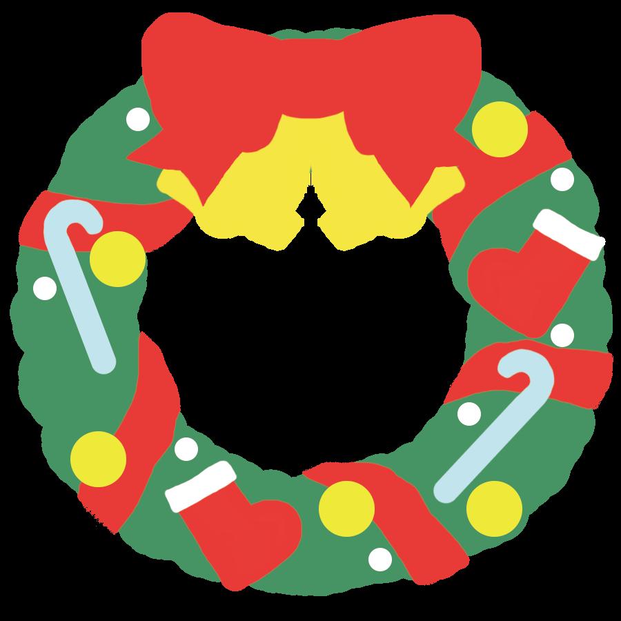 クリスマスリースの可愛いイラスト(シンプル)版