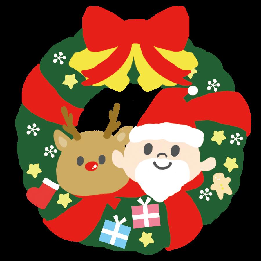 クリスマスリースのかわいいカラーイラスト サンタとトナカイ付き