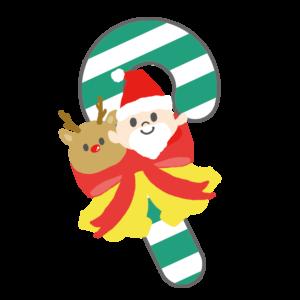 クリスマスキャンディ イラスト、サンタクロース、トナカイ、ベル、リボン