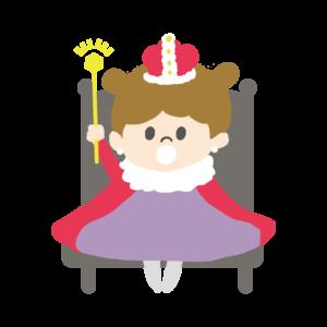 生活発表会で劇をする女の子のイラスト、お姫様、プリンセス、王冠、お遊戯会、幼稚園、保育園