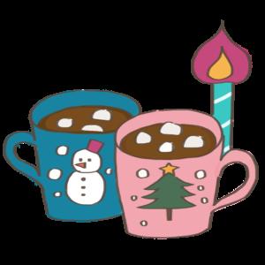 クリスマスココアのかわいいイラスト、ロウソク、雪だるま、ツリー、マグカップ
