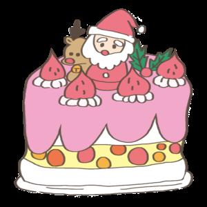 クリスマスケーキのかわいいイラスト、サンタクロース、トナカイ、いちご