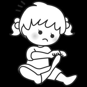 靴下を脱ぐ子供のイラスト 女の子 かわいい モノクロ 白黒