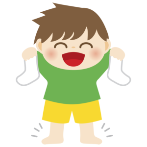 靴下を手に持つ子供のイラスト かわいい 男の子