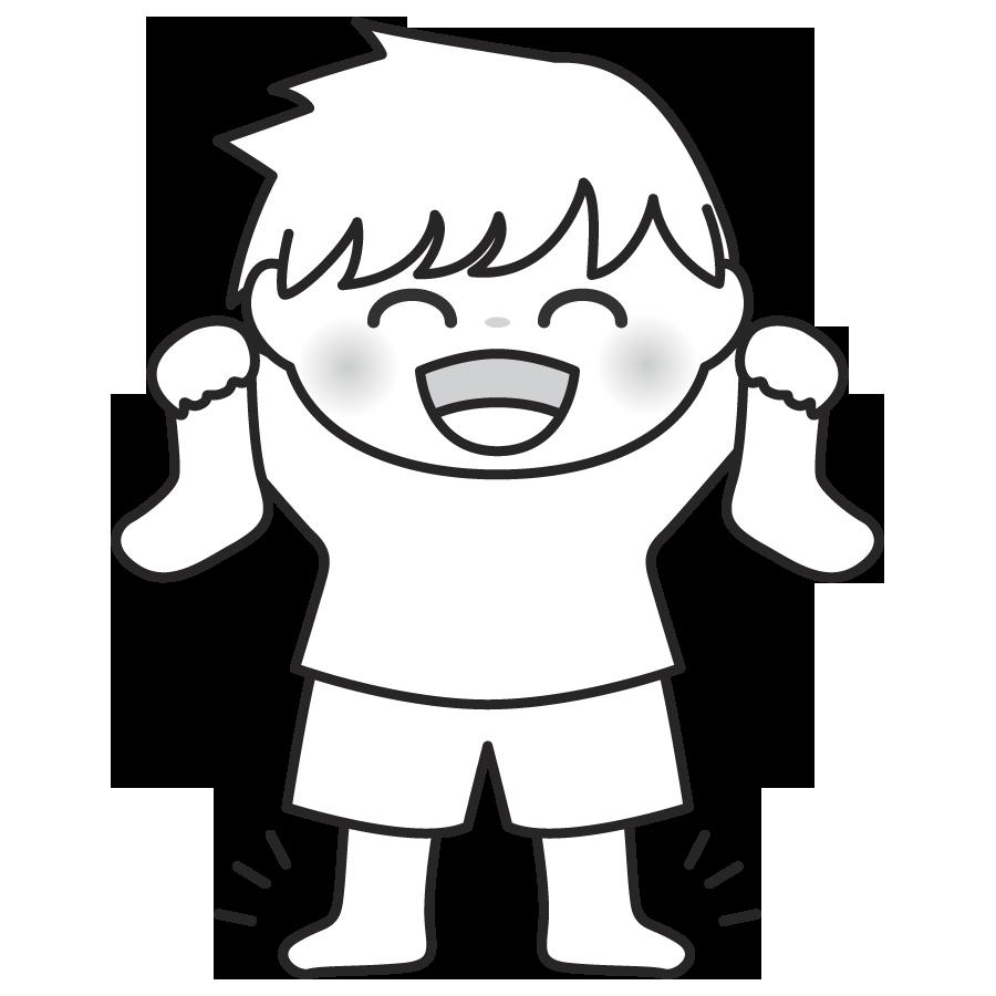靴下を手に持つ子供のイラスト かわいい 男の子 モノクロ 白黒