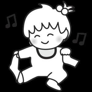 靴下を脱ぐ赤ちゃんのイラスト かわいい 女の子 モノクロ 白黒
