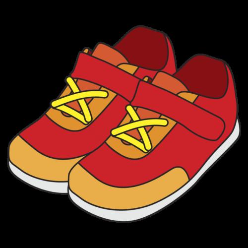 子供の靴のイラスト、シューズ、保育園、幼稚園、スニーカー、運動靴、幼児、小学校、かわいい、赤
