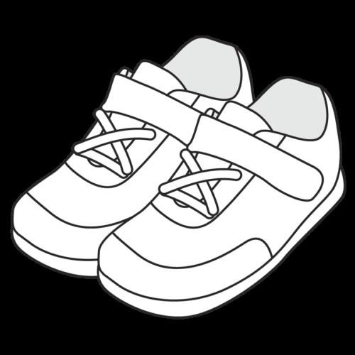 子供の靴のイラスト、シューズ、保育園、幼稚園、スニーカー、運動靴、幼児、小学校、かわいい、モノクロ 白黒