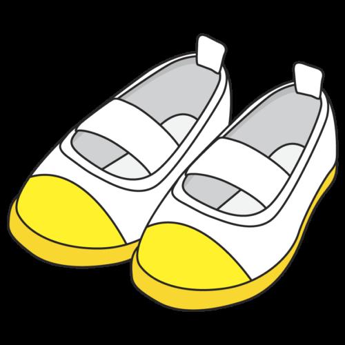 子供の上履きのイラスト、シューズ、黄色、保育園、幼稚園、スリッパ、幼児、小学校、かわいい、靴