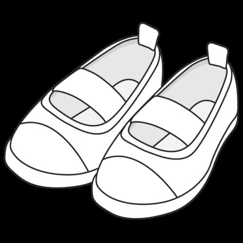 子供の上履きのイラスト、シューズ、黄色、保育園、幼稚園、スリッパ、幼児、小学校、かわいい、靴 モノクロ 白黒