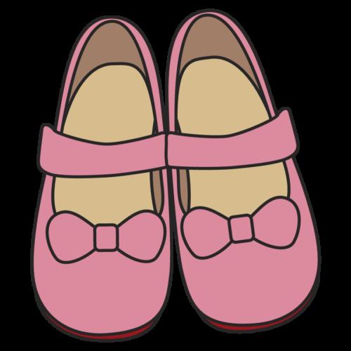 女の子かわいい靴のイラスト、シューズ、黄色、保育園、幼稚園、幼児、小学校、かわいい、ピンク