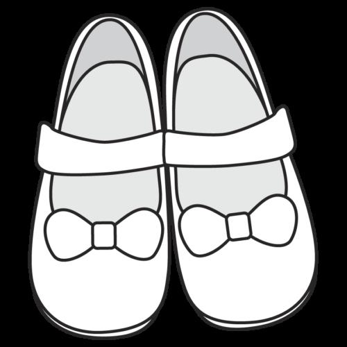 女の子かわいい靴のイラスト、シューズ、黄色、保育園、幼稚園、幼児、小学校、かわいい、モノクロ 白黒