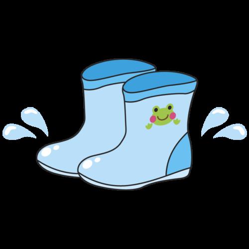 子供の長靴のイラスト。水色、カエル