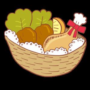 バスケット入りのクリスマスチキンのイラスト、ナゲット、唐揚げ、野菜、レモン