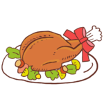 パーティー用クリスマスチキンのイラスト、お皿、豪華