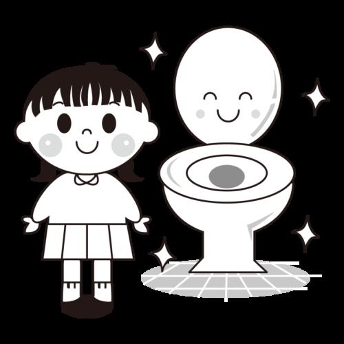 トイレ きれいに使う イラスト モノクロ 白黒