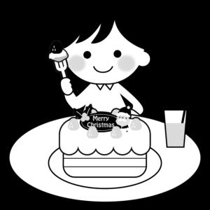 クリスマスケーキを食べるイラスト、男の子、子供、ジュース、サンタクロース、イチゴ、モノクロ、白黒