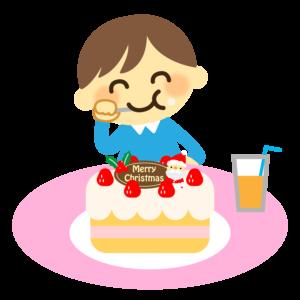 クリスマスケーキを食べるイラスト、男の子、子供、ジュース、サンタクロース、イチゴ