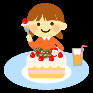 クリスマスケーキを食べるイラスト、女の子、子供、ジュース、サンタクロース、イチゴ