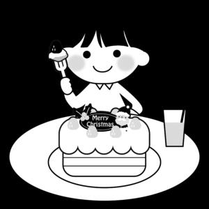 クリスマスケーキを食べるイラスト、女の子、子供、ジュース、サンタクロース、イチゴ、モノクロ、白黒