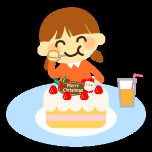 クリスマスケーキを食べるイラスト、女の子、子供、幼児、園児、ジュース、サンタクロース、イチゴ
