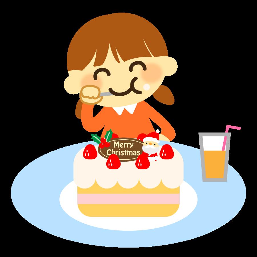 クリスマスケーキを食べる女の子のイラスト3