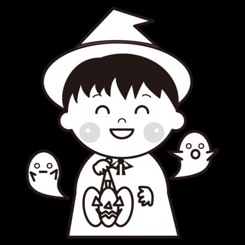 魔法使い 仮装 イラスト 白黒
