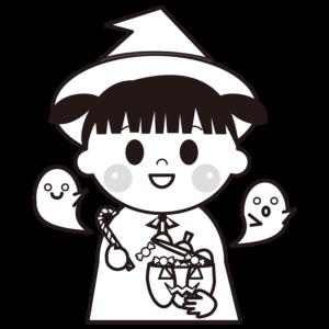 ハロウィン 魔女 イラスト 白黒 モノクロ