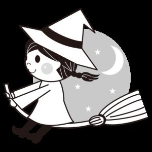 魔法使い イラスト 白黒 モノクロ