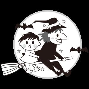 魔女 子供 イラスト 白黒 モノクロ