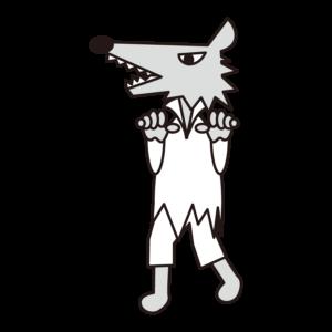狼男子 イラスト 白黒 モノクロ