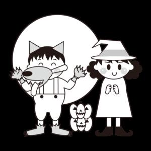 狼男 仮装 イラスト 白黒 モノクロ