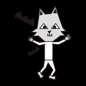 ハロウィン 狼男 イラスト 白黒 モノクロ