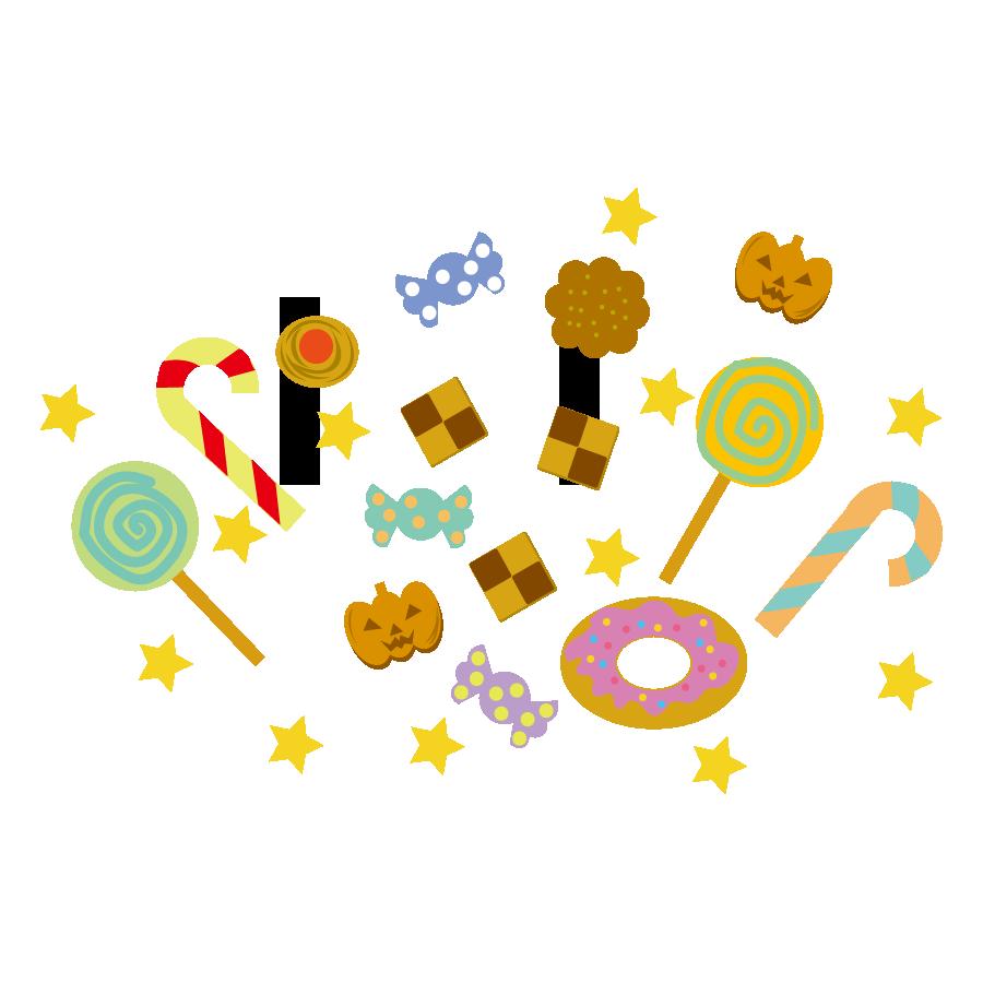 ハロウィンのお菓子のかわいいイラスト