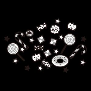 ハロウィン お菓子 イラスト 白黒 モノクロ