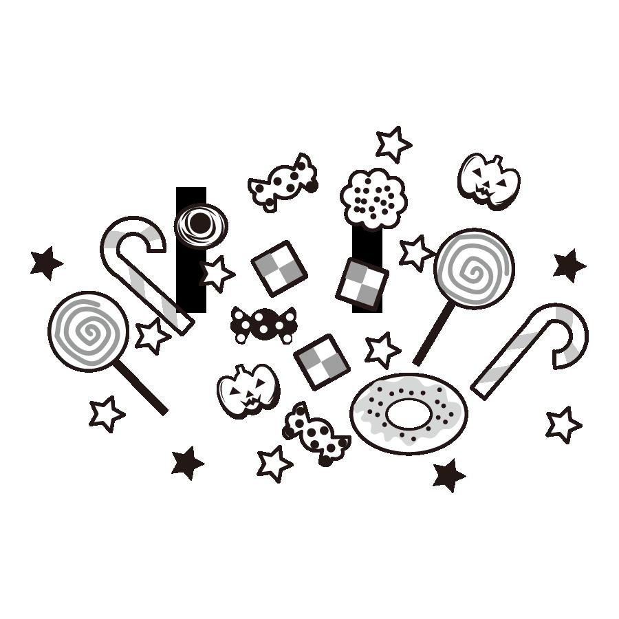 ハロウィンのお菓子のイラスト 白黒 モノクロ