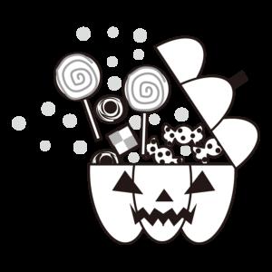 ハロウィン キャンディ イラスト 白黒 モノクロ クッキー