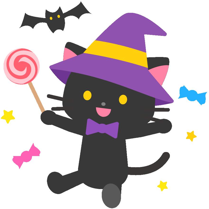 魔女の猫のかわいいイラスト
