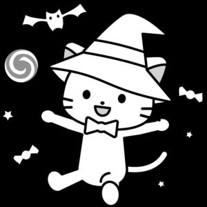 魔女 猫 イラスト 白黒 モノクロ