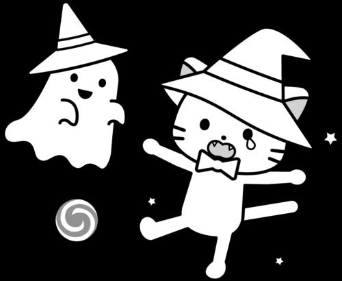 猫 お化け イラスト 白黒 モノクロ