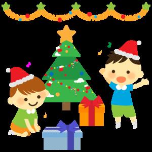 クリスマスパーティのイラスト、男の子、プレゼント、クリスマスツリー