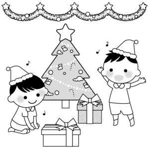 クリスマスパーティーのイラスト、保育園、幼稚園、男の子、子供、プレゼント、モノクロ、白黒、クリスマスツリー
