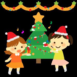 クリスマス会のイラスト、保育園、幼稚園、女の子、プレゼント、クリスマスツリー