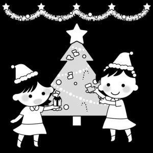 クリスマス会のイラスト、女の子、幼稚園、保育園、クリスマスツリー、子供