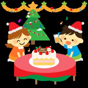 保育園や幼稚園のクリスマス会のイラスト、子供、女の子、男の子、ケーキ、パーティー、クリスマスツリー