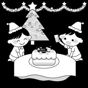 クリスマス会のイラスト、モノクロ、白黒、女の子、男の子、クリスマスケーキ、クリスマスツリー、子供、幼稚園、保育園