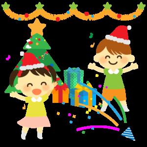 クリスマス会のイラスト、保育園、幼稚園、プレゼント、クラッカー、クリスマスツリー、子供、女の子、男の子