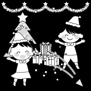 クリスマス会のイラスト。モノクロ、白黒、女の子、男の子、プレゼント、クリスマスツリー、クラッカー