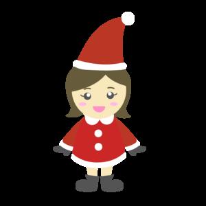 クリスマス会でサンタクロースのコスプレをした女の子のイラスト、子供