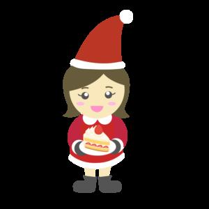 クリスマス会でケーキをもらう女の子のイラスト